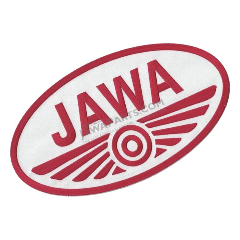 Iron-on logo (29,8x16,5cm) WHITE-RED - JAWA