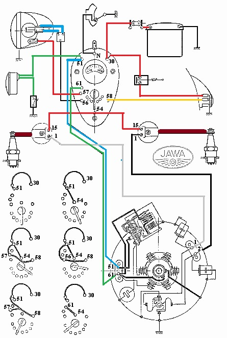 motorcycle wiring diagrams free parts jawa 250 350 panel k  v electrical installation  parts jawa 250 350 panel k  v electrical installation