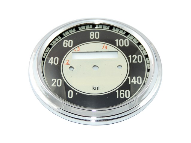 Glass + frame of speedometer 160 km/h, BLACK - JAWA 500 OHC