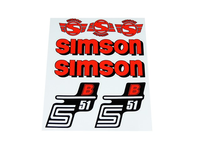Stickers set S51 B, RED - Simson S51