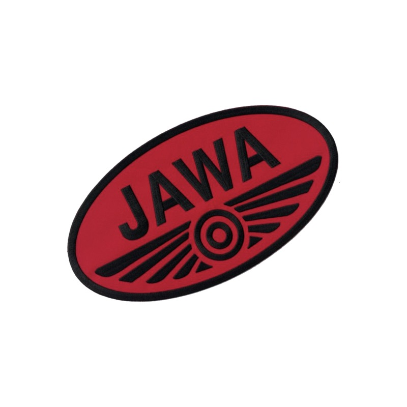 Iron-on logo (7x3,8cm) RED-BLACK - JAWA