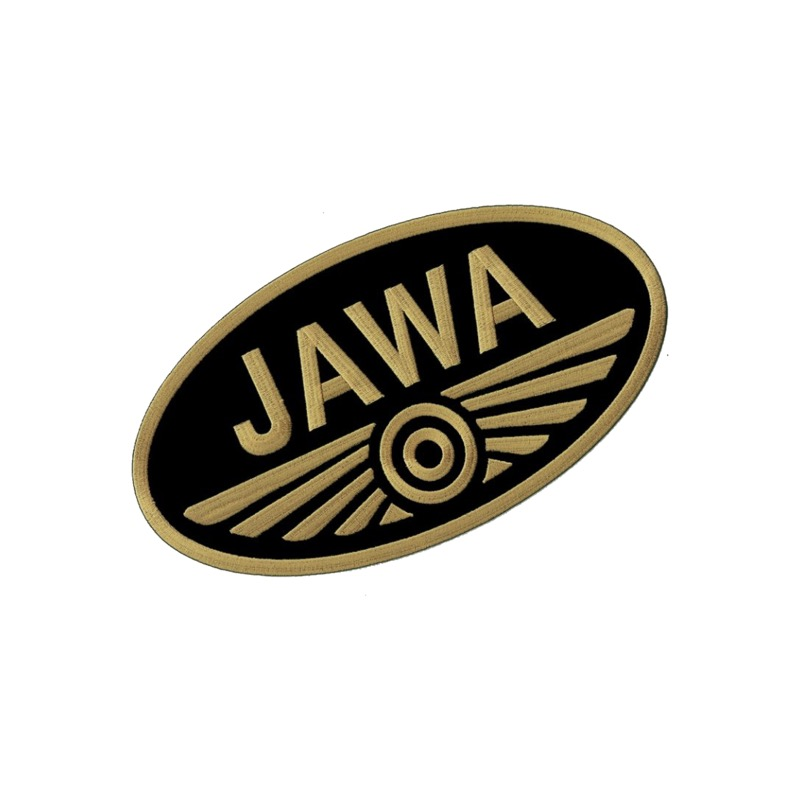 Iron-on logo (7x3,8cm) BLACK-GOLD - JAWA