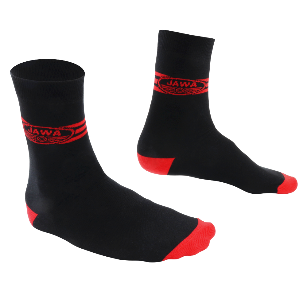 Socks for best motorbike rider (42-46), BLACK - Red logo of JAWA with stripes