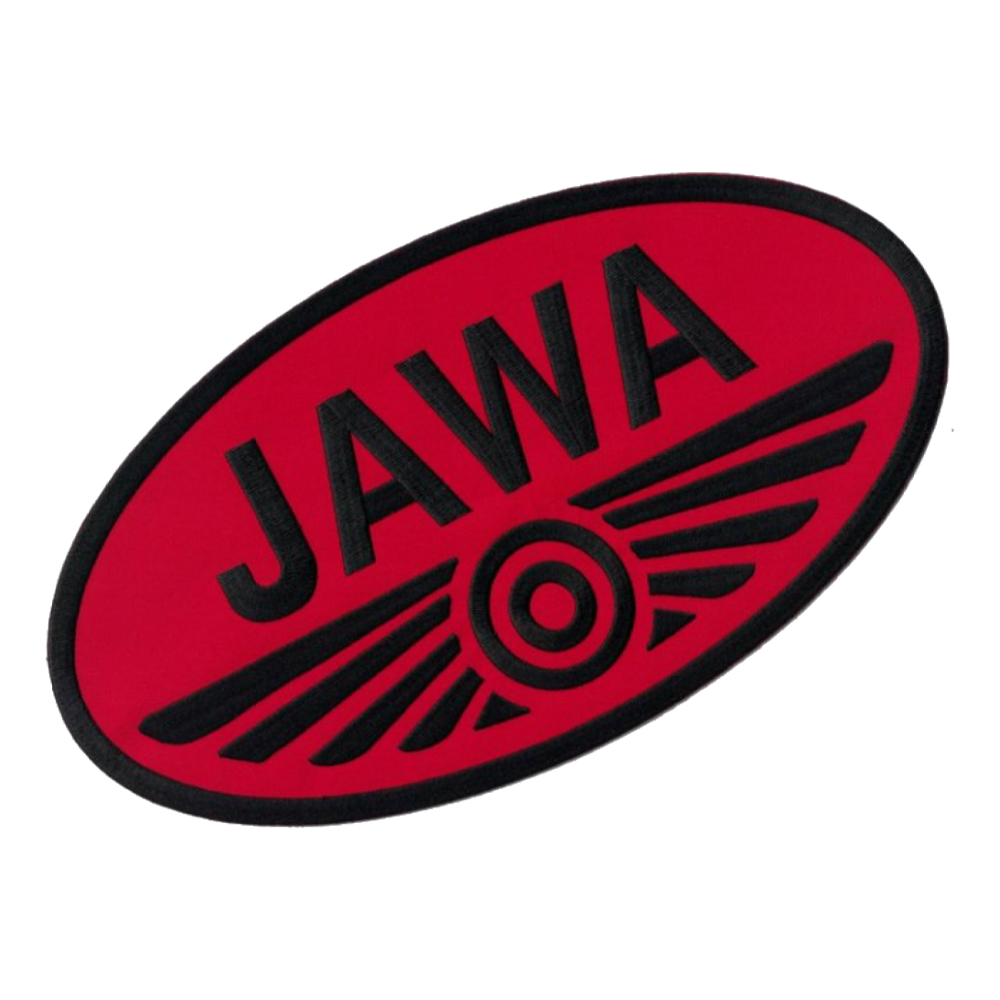 Iron-on logo (29,8x16,5cm) RED-BLACK - JAWA
