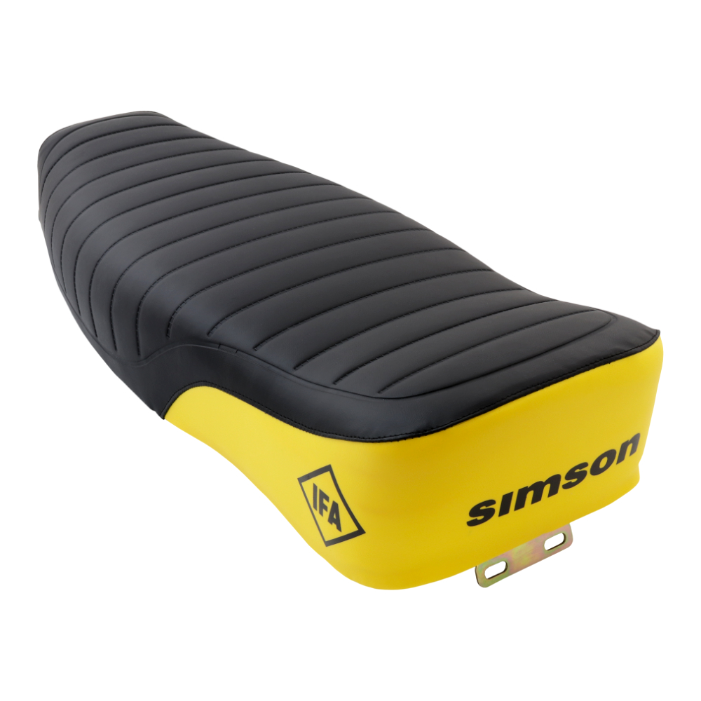 Seat BLACK-YELLOW, complete (MZA) - S50, S51, S70 Enduro