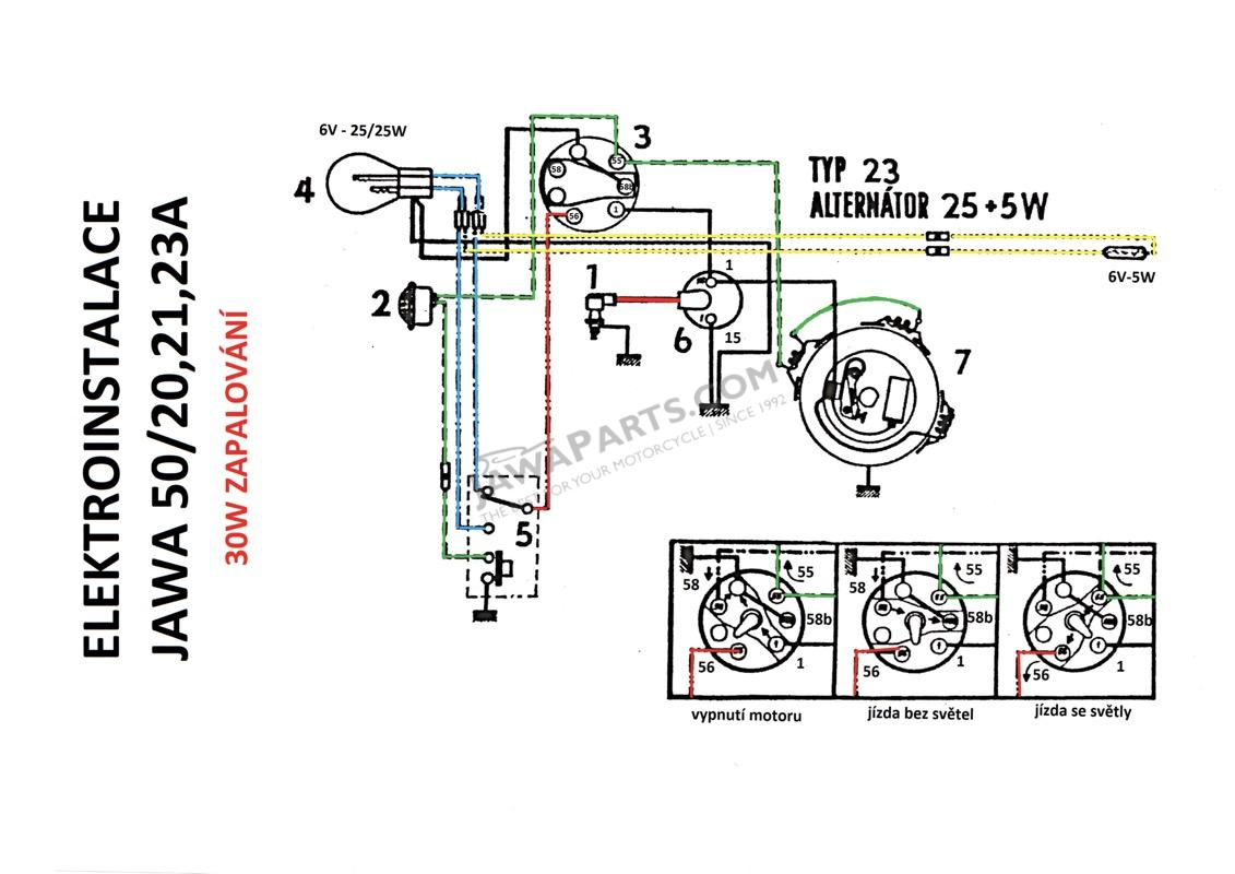 Jawa 350 Wiring Diagram Manual Of Moped Parts 50 Type 05 20 23 Electrical Installation 30w Rh Jawaparts Com