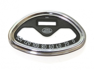Glass + frame of speedometer JAWA 140 km/h - Panelka