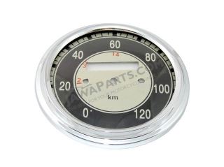 Glass + frame of speedometer 120 km/h, BLACK - JAWA, ČZ
