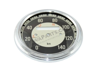 Glass + frame of speedometer 140 km/h, BLACK - JAWA, ČZ
