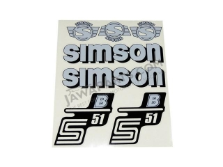 Stickers set S51 B, SILVER - Simson S51
