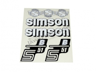 Stickers set S51 B, WHITE - Simson S51
