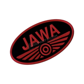 Iron-on logo (10x5,5cm) BLACK-RED - JAWA