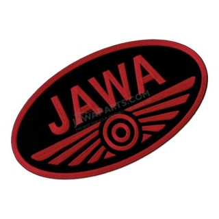 Iron-on logo (29,8x16,5cm) BLACK-RED - JAWA