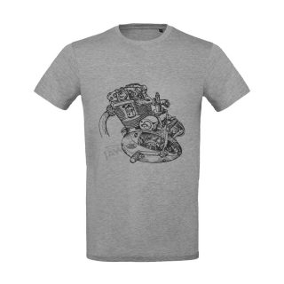 T-Shirt (XL), grey - Engine of JAWA 500 OHC