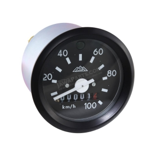 Speedometer with indicator (100km/h), BLACK FRAME (MZA) - Simson S51, S53, S70