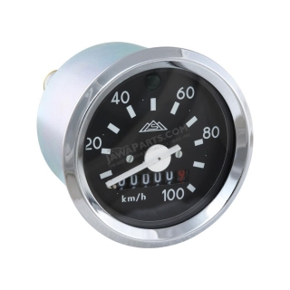 Speedometer with indicator (100km/h), CHROME FRAME (MZA) - Simson S51, S53, S70