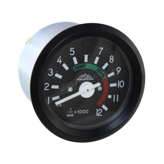 Rev-counter (12000 RPM), BLACK FRAME (MZA) - Simson S51, S53, S70