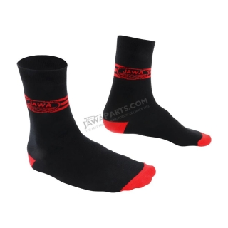 Socks for best motorbike rider (36-41), BLACK - Red logo of JAWA with stripes